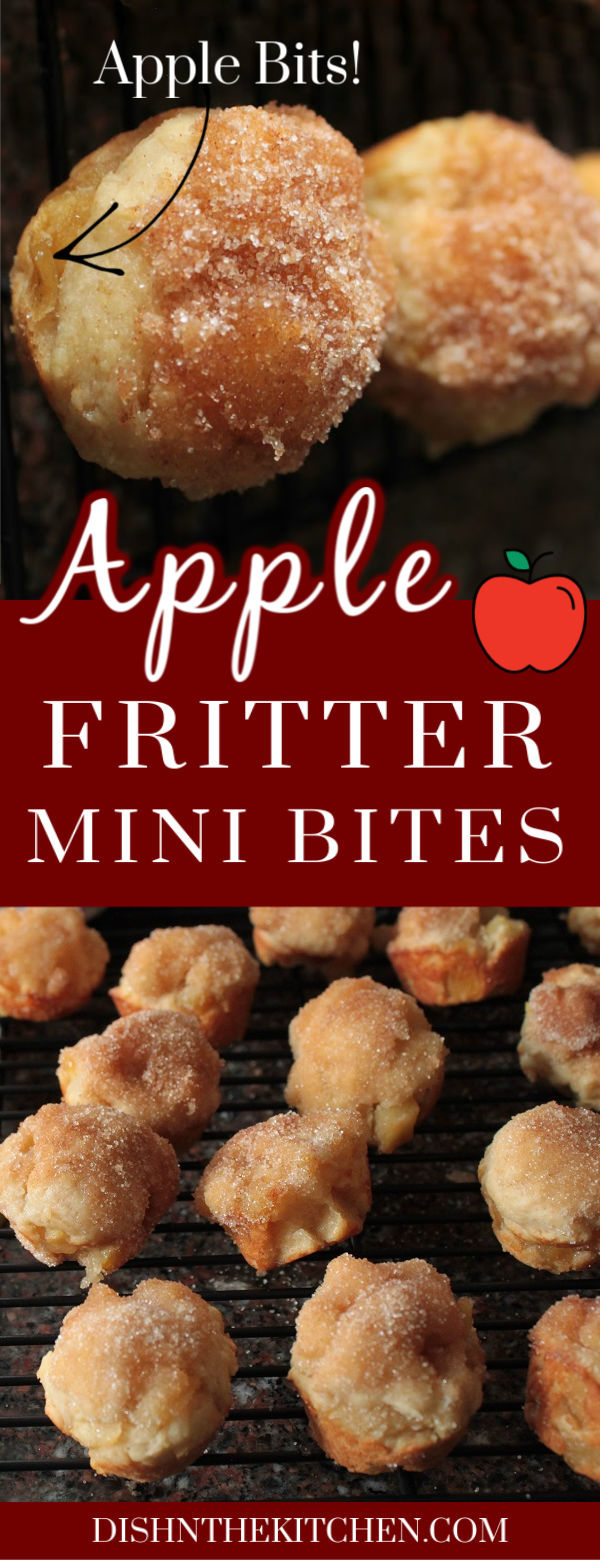 Apple Fritter Bites - Dish 'n' the Kitchen Pinterest image of golden baked apple fritters with chunks of apple sit on a black cooking rack.