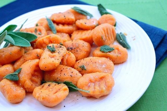 With just 2 ingredients (Sweet Potatoes and Flour), you'll make soft and pillowy homemade Sweet Potato Gnocchi that makes a simple yet elegant meal. #gnocchi #pasta #sweetpotato