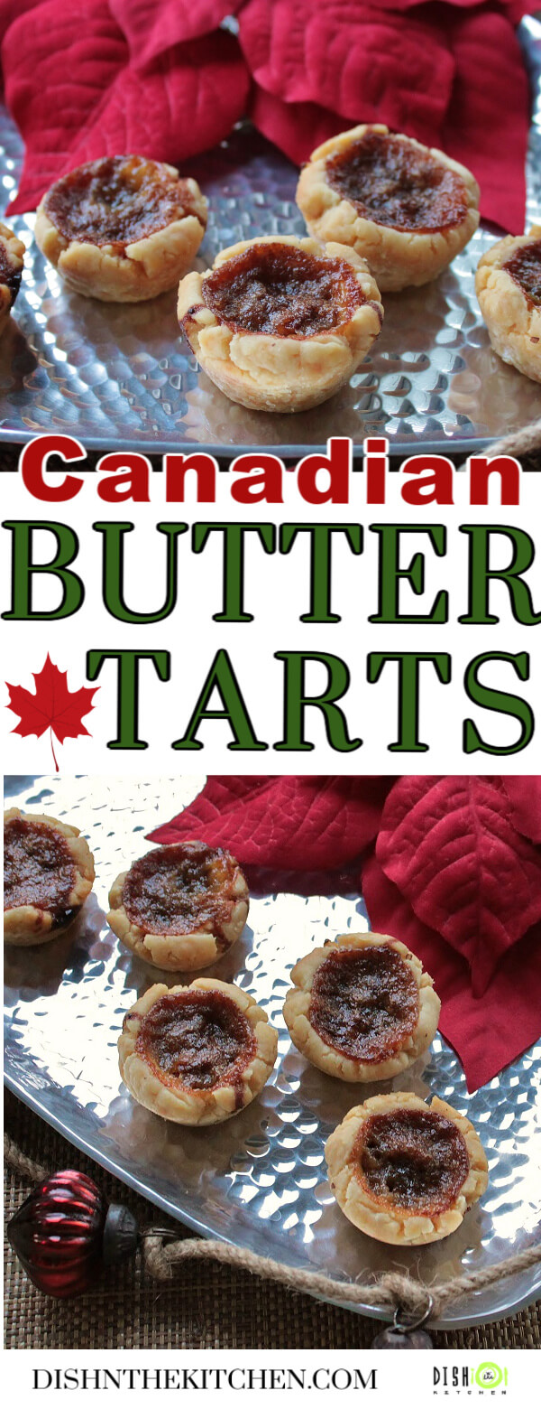 Pinterest image of Butter Tarts on a silver serving tray surrounded by a red poinsetta and Christmas decorations.
