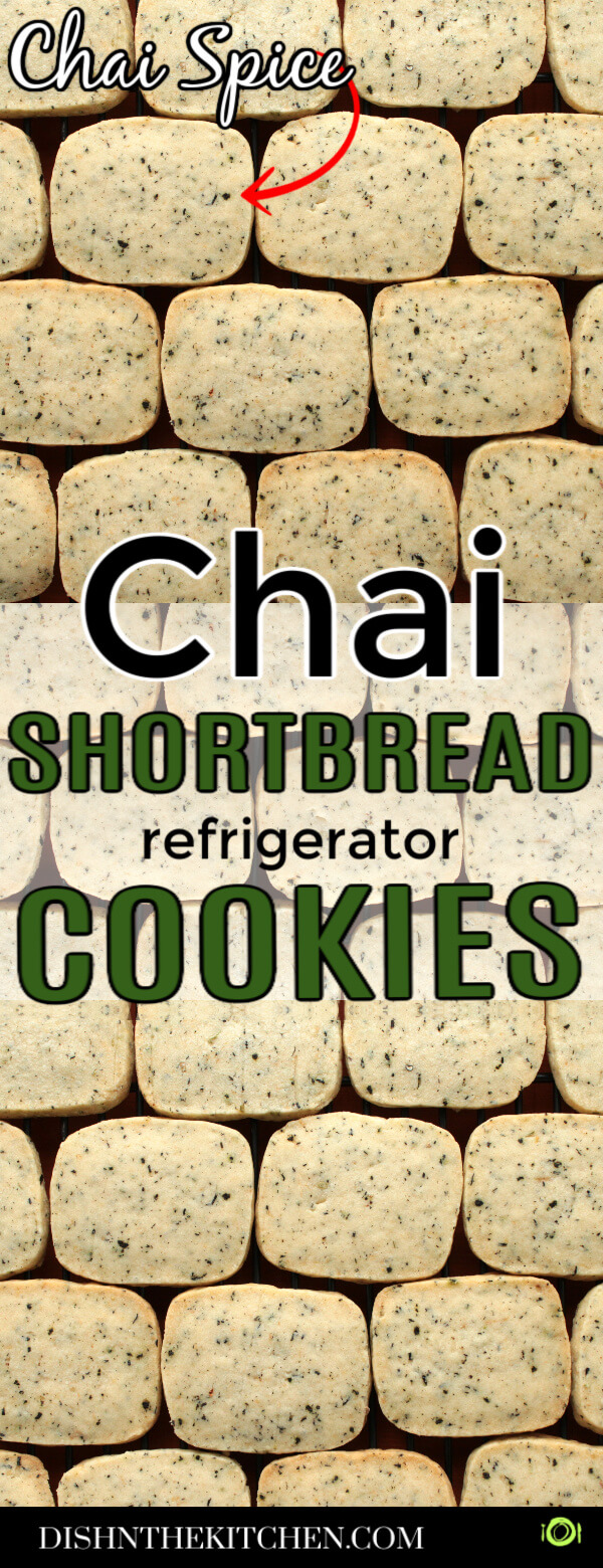 Chai Shortbread PIN image of rectangular shaped spiced shortbread cookies.