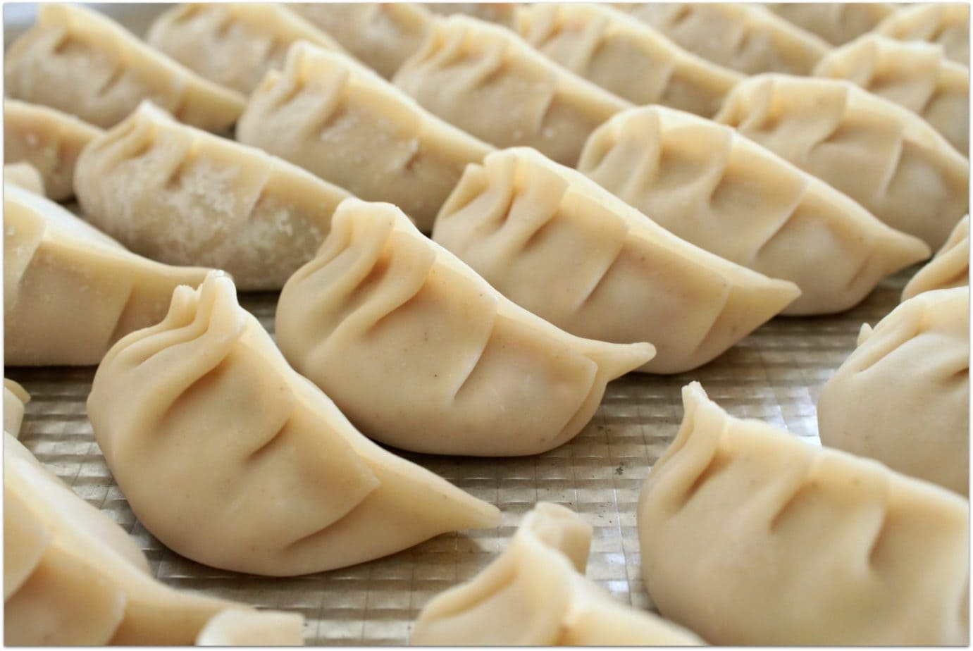 A tray of homemade dumplings