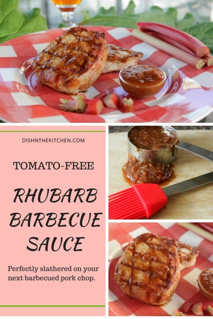 Pinterest images of a chunky brown barbecue sauce slathered on a grilled pork chop. Rhubarb stalks in background.