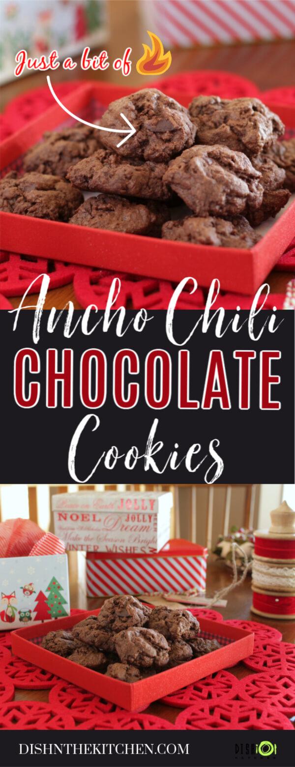 Pinterest image of Ancho Chili Chocolate Cookies Pinterest image of brown cookies in a red gift box.