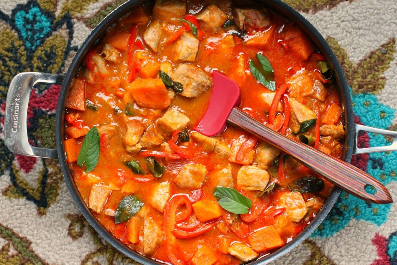 Pork and Mango Red Coconut Curry is a quick weeknight family curry that checks all the right flavour boxes. #pork #curry #coconutcurry #redcurry #quickdinner