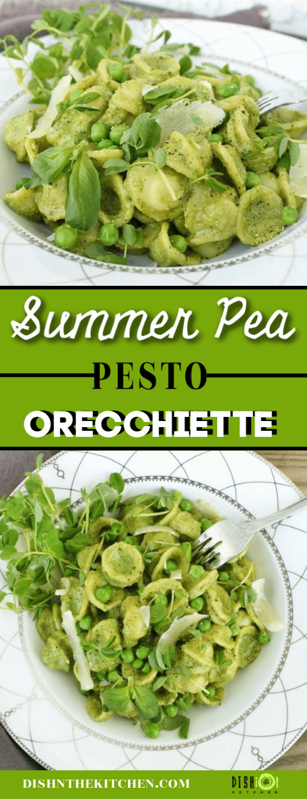 A pin image with two photos of a bright green pea and pesto pasta dish.