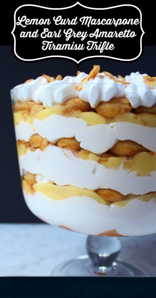 Pinterest image of a bright layered Tiramisu Trifle Dessert featuring lemon curd and mascarpone.