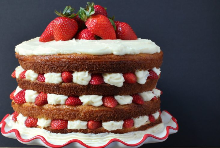 The Ultimate Layered Birthday Cake - Lemon Cardamom Layer Cake with Strawberries and Mascarpone #layercake #strawberries #mascarpone #birthdaycake