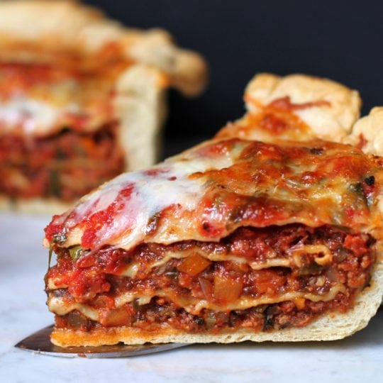 Sky High Pizza Pie is a creation of Epic Proportions. It's a Pizza, and a lasagne all in one! #lasagne #lasagna #lasagnapizza #pizza #deepdishpizza