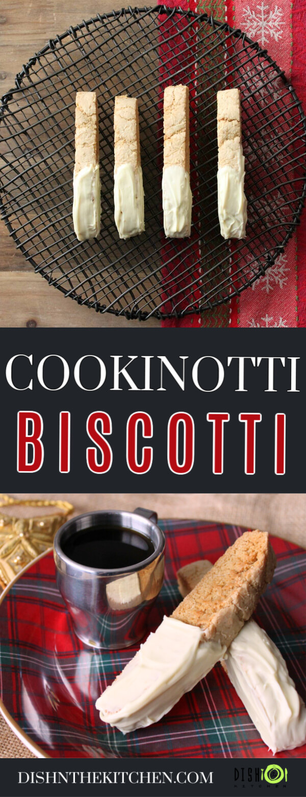Pinterest image of Cookinotti Biscotti - Two white chocolate dipped biscotti sit on top of a plaid plate with a cup of espresso.