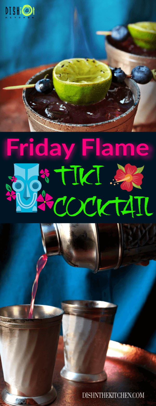 Pin image with a tiki cocktail close up image and another with a cocktail shaker pouring out purple cocktail into a frosty glass