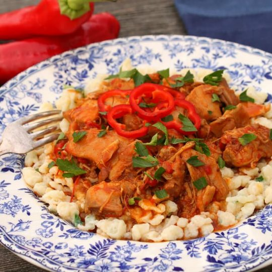 Chicken Paprikash - A delicately flowered china plate containing homemade noodles topped with dark orange chicken paprikash, red peppers and parsley.