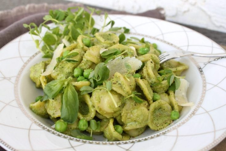 Summer Pea Orecchiette Pesto Pasta Recipe