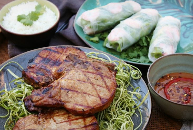 Grilled Vietnamese Pork Chops are grilled to perfection after being marinated with a fresh lemongrass based marinade. #porkchops #Grilledporkchops #pork #dinner #grilling #porkmarinade