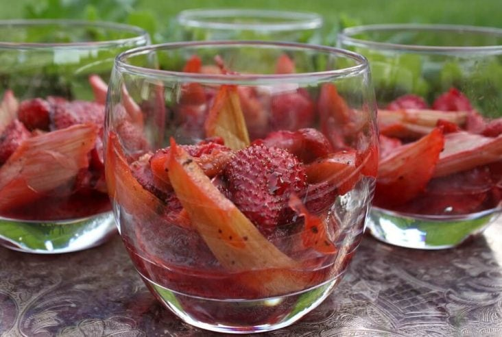 Roasted Strawberries and Rhubarb Dessert in a glass.