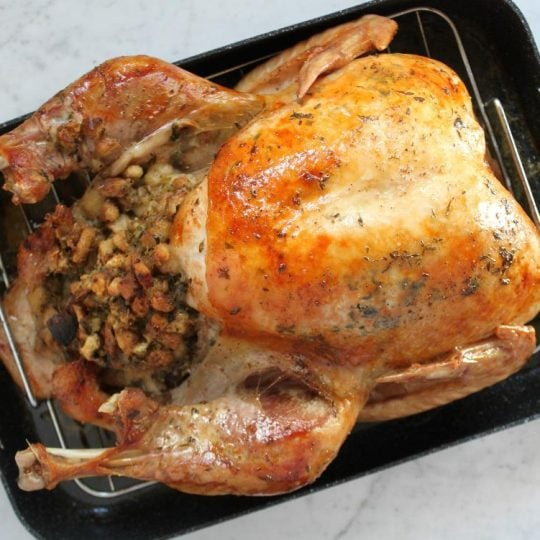 Best Ever Turkey Brine Recipe - Dish 'n' the Kitchen Pin image of a perfectly browned roasted, and stuffed Turkey in a black roasting pan.