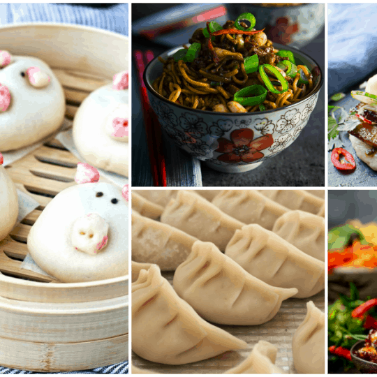 Dish 'n' the Kitchen's 33 Asian Pork Recipe Roundup for Lunar New Year contains some of the tastiest recipes using pork, the other white meat. #LunarNewYear #YearofthePig #PorkRecipes #Pork