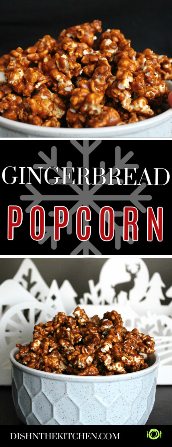 Pinterest image of A bowl filled with Gingerbread Caramel Popcorn in front of a Winter scene.