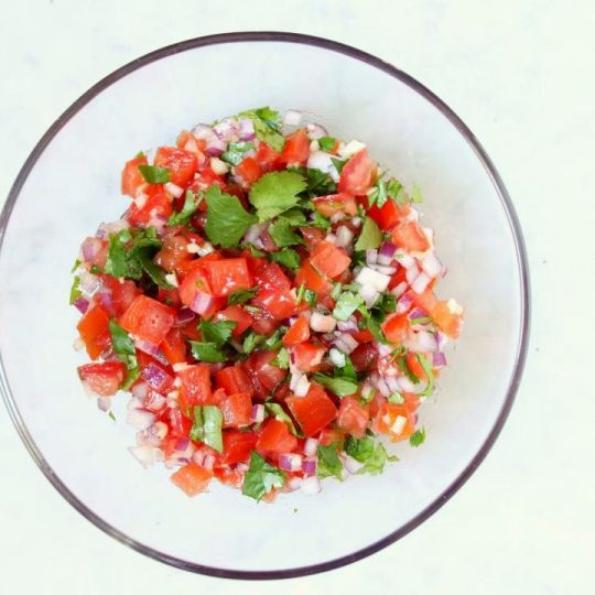 This Fresh and Zesty Pico de Gallo is a great way to add freshness and flavour to any dish. Use it on top of a casserole, chicken, fish, or just scoop it up with tortilla chips. #picodegallo #salsa #dips #snacks