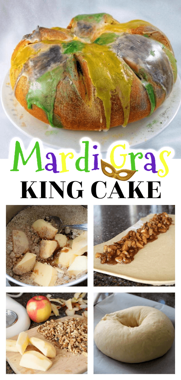 Bake a King Cake for Mardi Gras and take a trip to the delicious deep South. Filled with a lively Ambrosia Apple Cinnamon filling, you'll be shaking your beads in no time! #mardigras #fatTuesday #kingcake #ambrosiaapples #cake