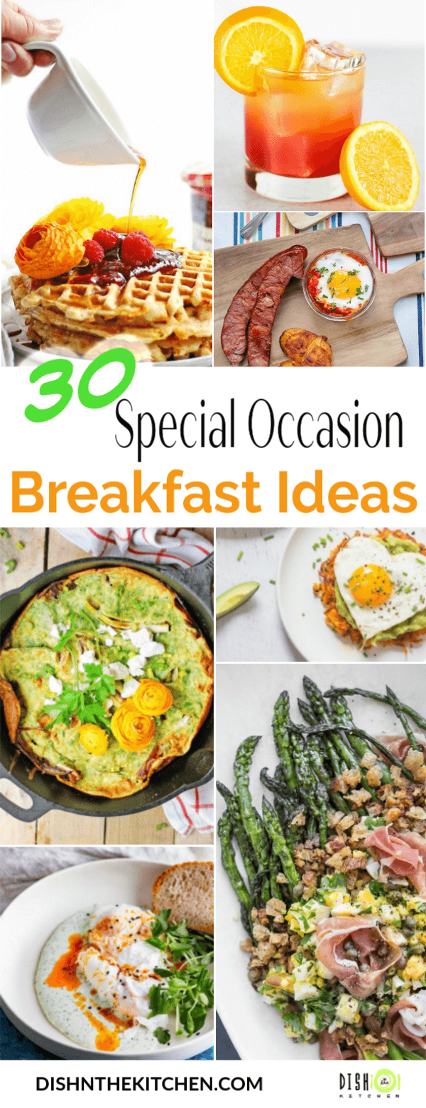 Dish 'n' the Kitchen's 30 Breakfast PIN image contains multiple colourful breakfast foods