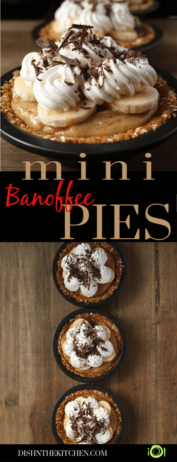 Pin image with close up of a mini banoffee pie and three mini banoffee pies on a wooden background