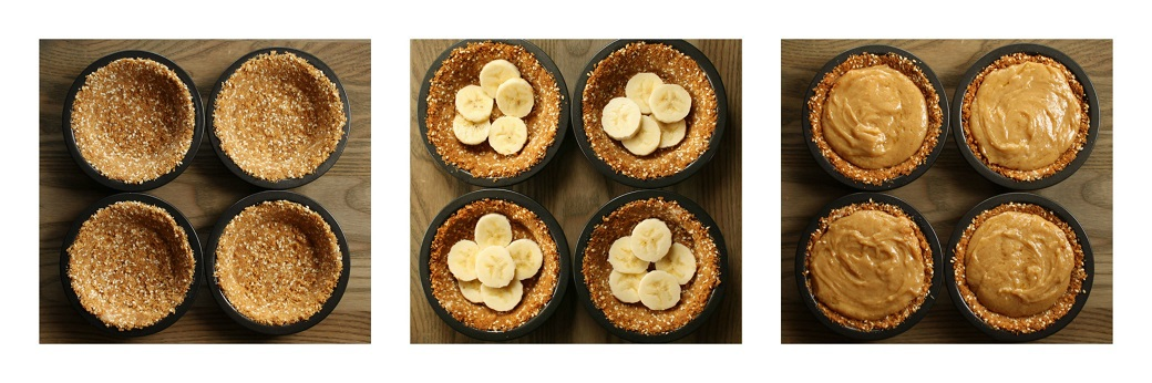 Three process photos showing how to create banoffee pies.