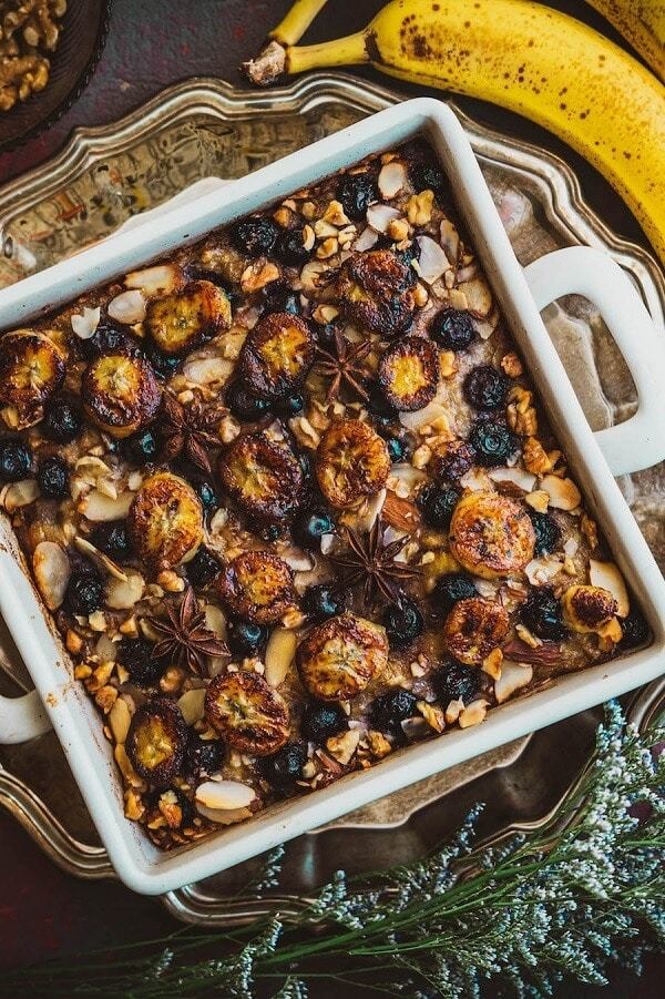 Berry Baked Oatmeal with Caramelized Bananas, Roasted Almonds & Walnuts