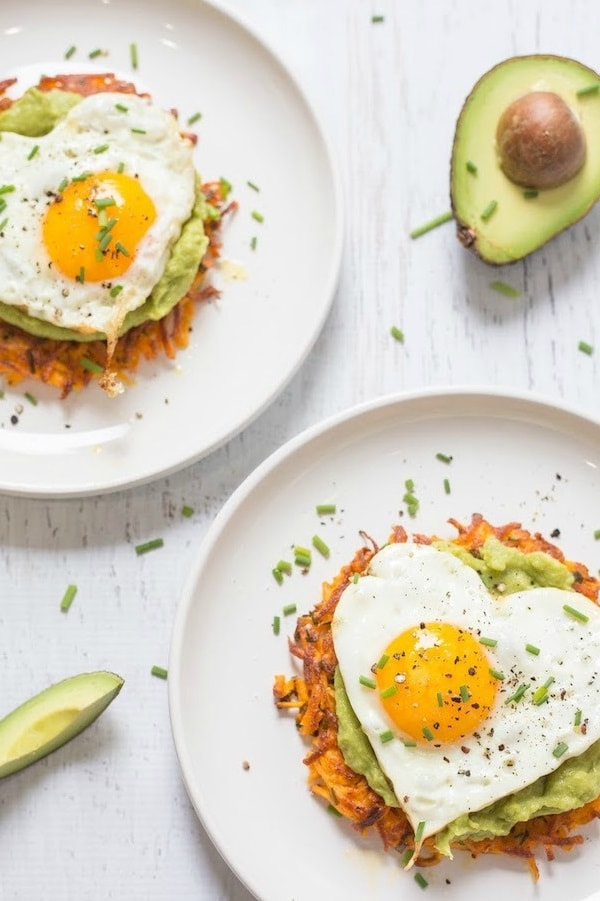 Savory Sweet Potato Fritters with Avocado and Fried Eggs.