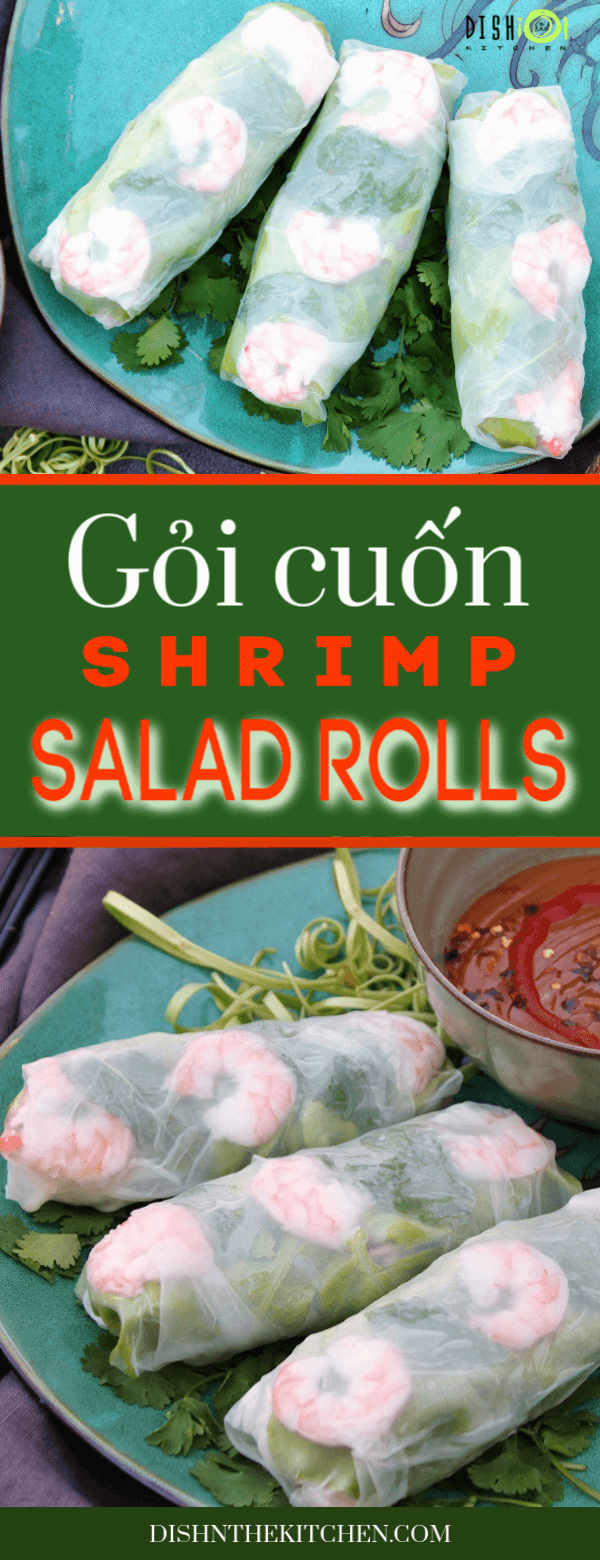 PIN image with a close view of three Vietnamese Salad Rolls and a lower vertical image of three Vietnamese Salad Rolls with peanut sauce