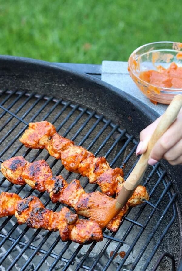Grilled Chicken Kabobs with Mango Jalapeno BBQ Sauce