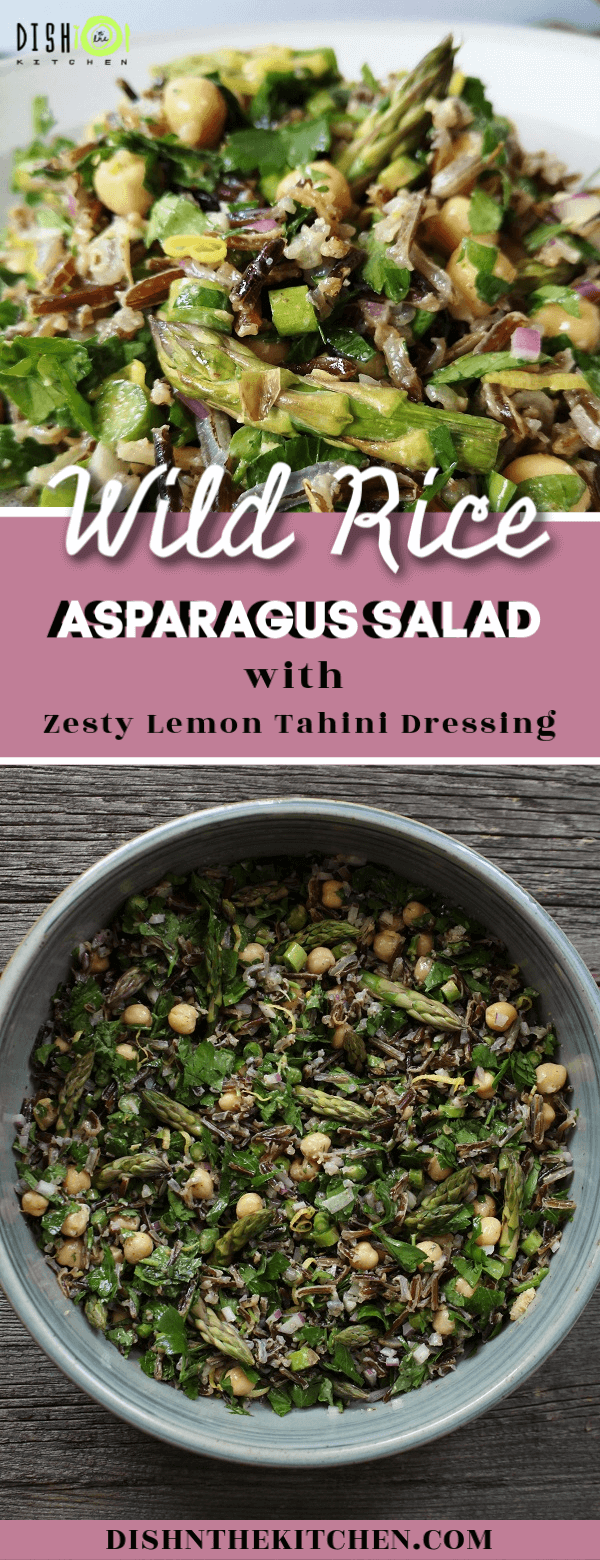 Pin image of Wild Rice Asparagus Salad containing a top image with close up and bottom image with overhead shot of the salad in a bowl.