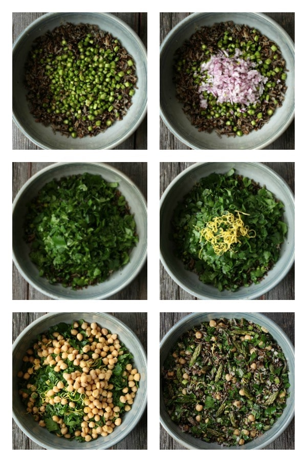 6 process shots of Wild Rice Asparagus Salad showing the stages of ingredient additions.
