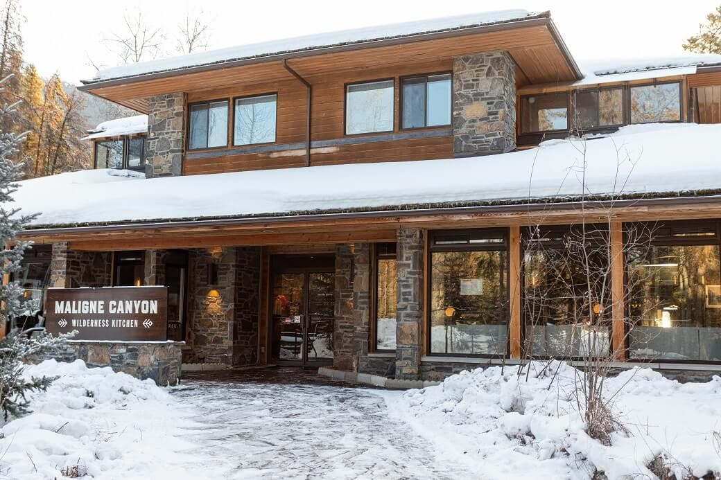 Exterior photo of Malign Canyon Wilderness Kitchen in the winter.