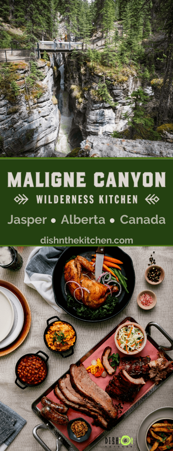 Pinterest image overhead photo of a large platter of smoked meat and side dishes and A landscape photo of a deep rocky canyon containing rushing water and surrounding pines.