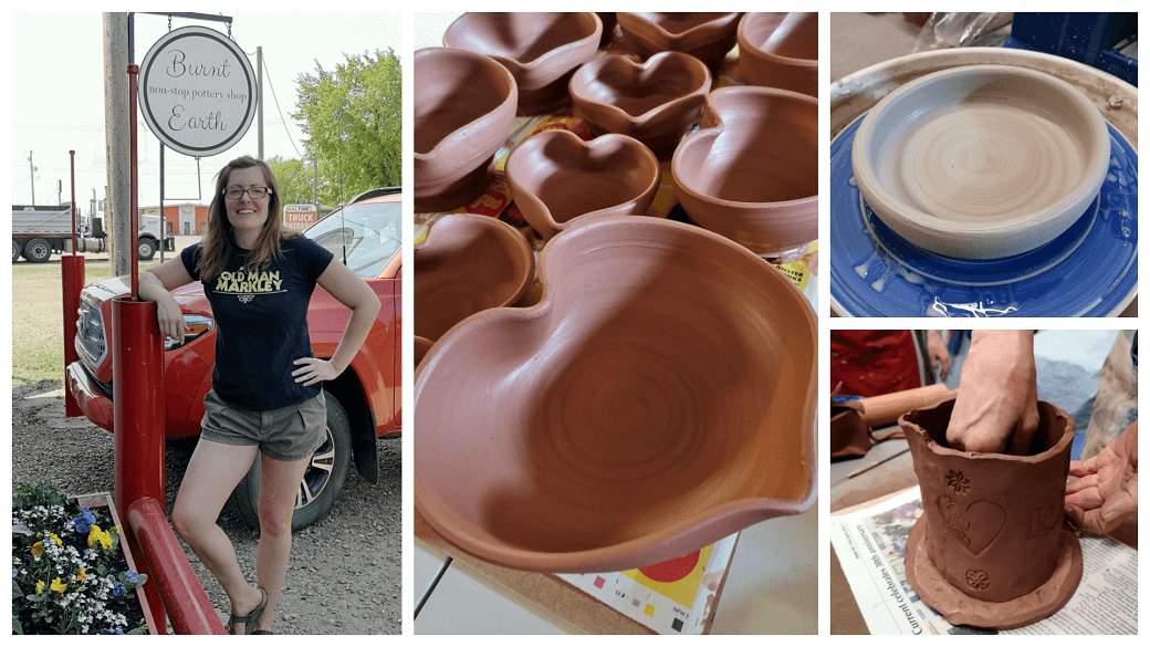 Photo collage featuring pottery made at Burnt Earth Studio in Brooks Alberta.