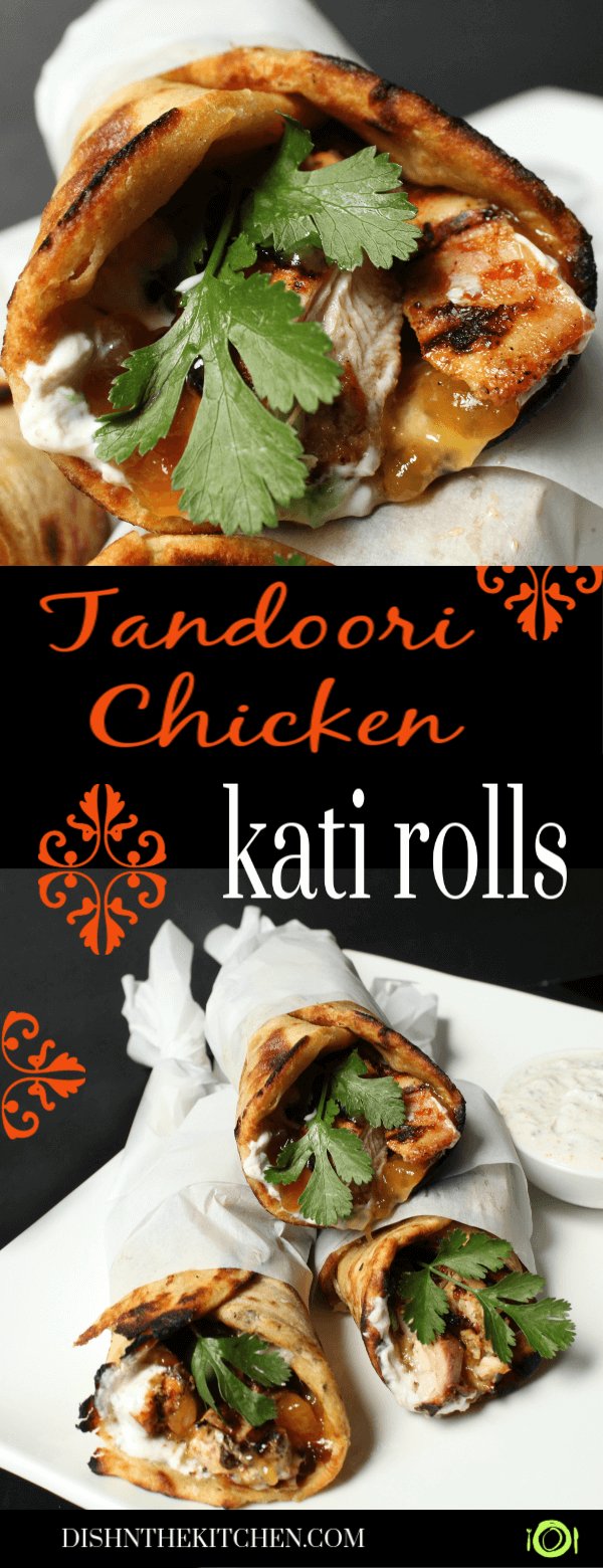 Pinterest images of grilled chicken wrapped in paratha along with cilantro, mango chutney, and raita.