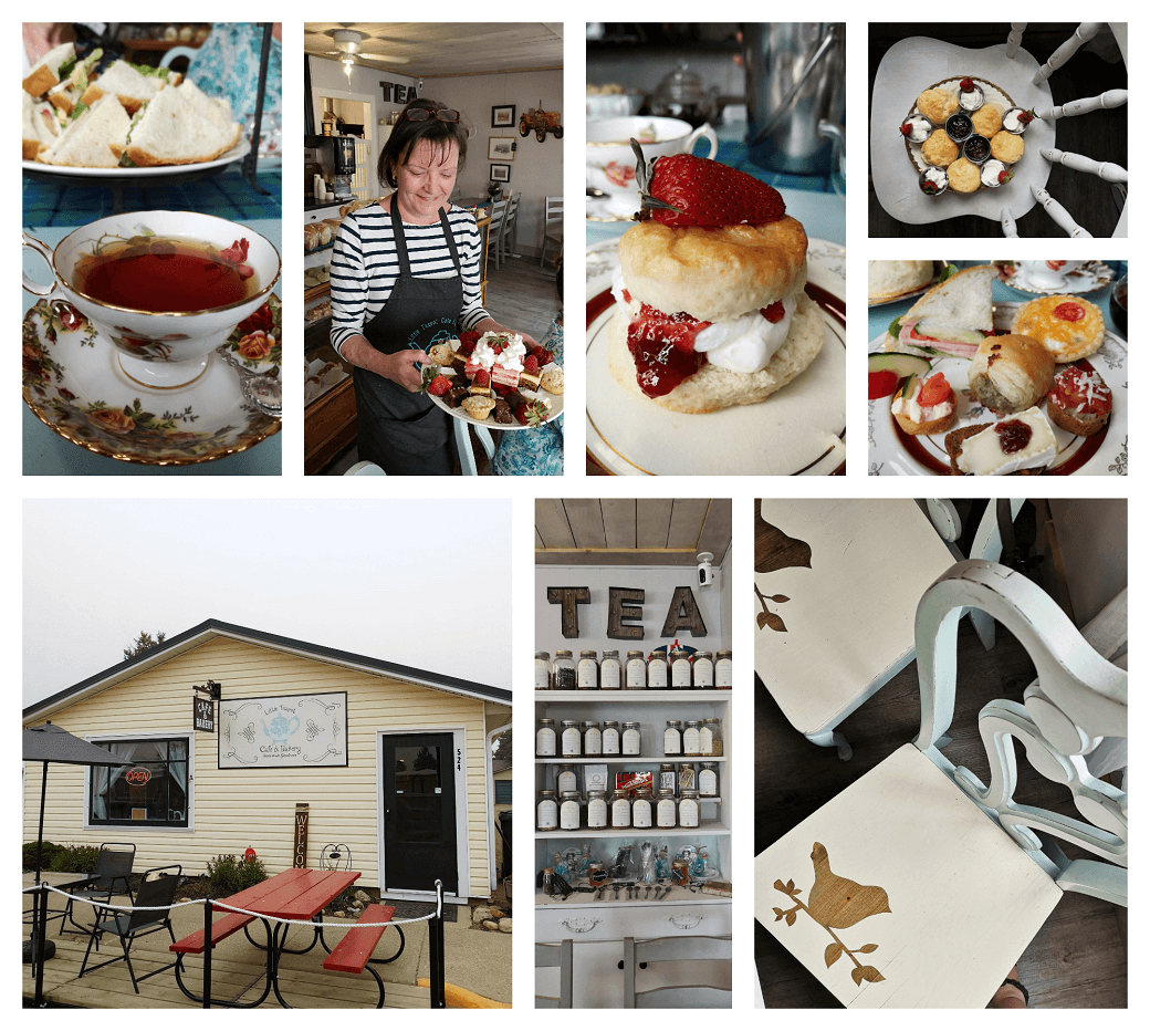 A collage of photos showing the decor and afternoon tea served at Little Teapot Cafe and Bakery in Rosemary Alberta.