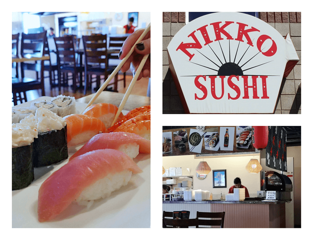 Collage of 3 photos showing the decor and sushi at Nikko Sushi in Brooks.