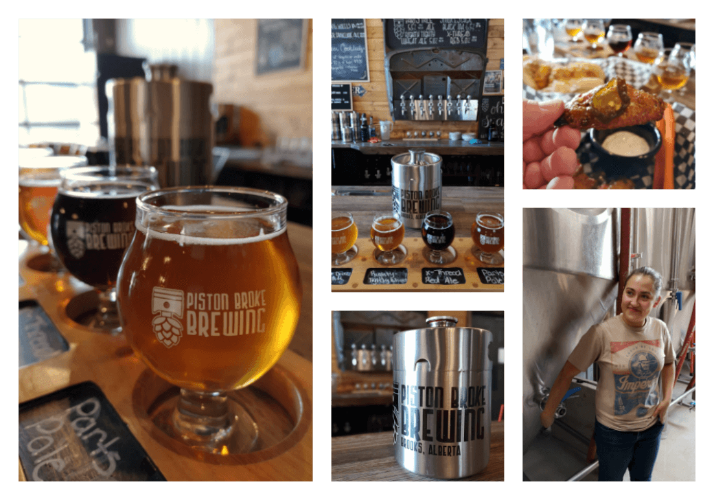 A collage of photos showing beer tasting, food, and tours at PIston Broke Brewing in Brooks Alberta.