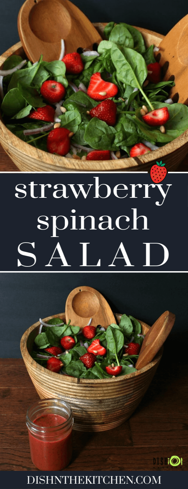 Super sweet seasonal strawberries make a great addition to this spinach salad. This stunning Strawberry Spinach Salad is then, dressed with a bright strawberry balsamic vinaigrette. It's summer in a bowl! #summersalad #salad #spinachsalad #strawberries #strawberryspinachsalad