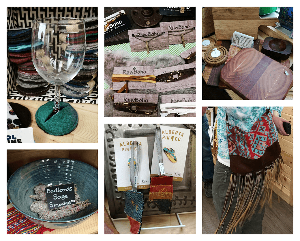 A collage of photos showing various artisan products found at Badlands Mercantile in Patricia Alberta.