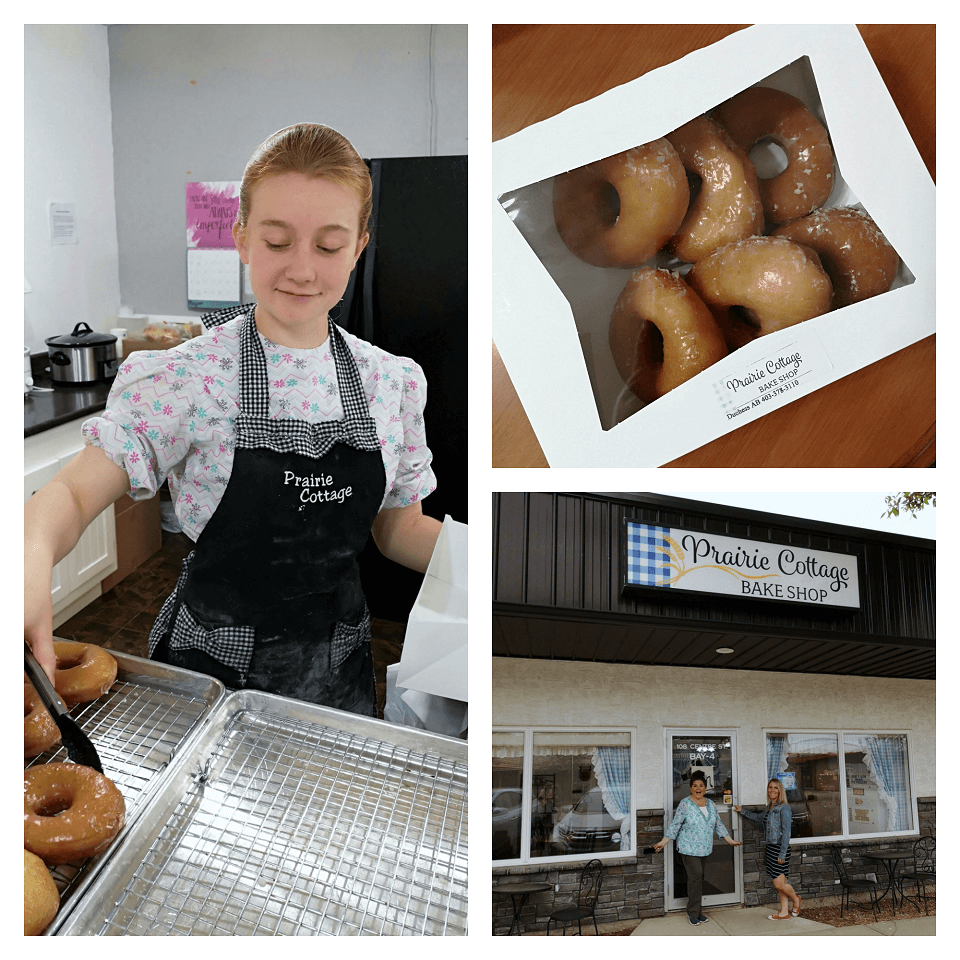 A Mennonite girl boxes up fresh doughnuts at a small town bakery.