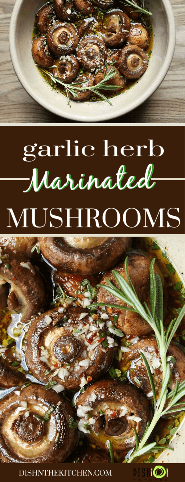 Pinterest image of brown marinated mushrooms sitting in a garlic and herb marinade.