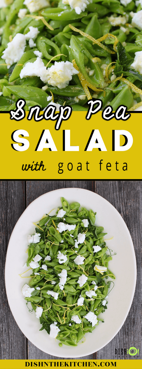 This sweet and zesty Snap Pea Salad features locally made goat feta, fresh mint, and bright lemon zest. Enjoy this delicious salad tonight in less than 20 minutes! #salad #snappeas #peas #peasalad #goatfeta #sidedish #eatlocal