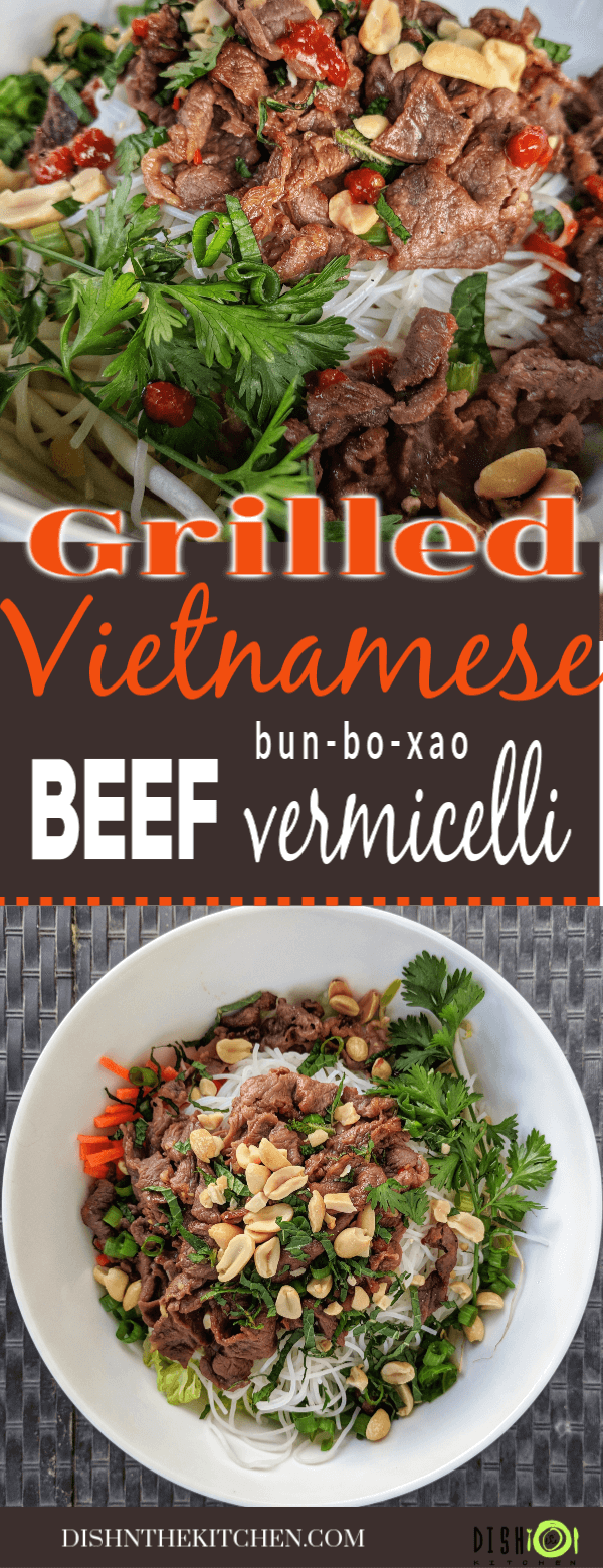 Pinterest image of Vietnamese beef noodle salad topped with fresh vegetables and vermicelli noodles.