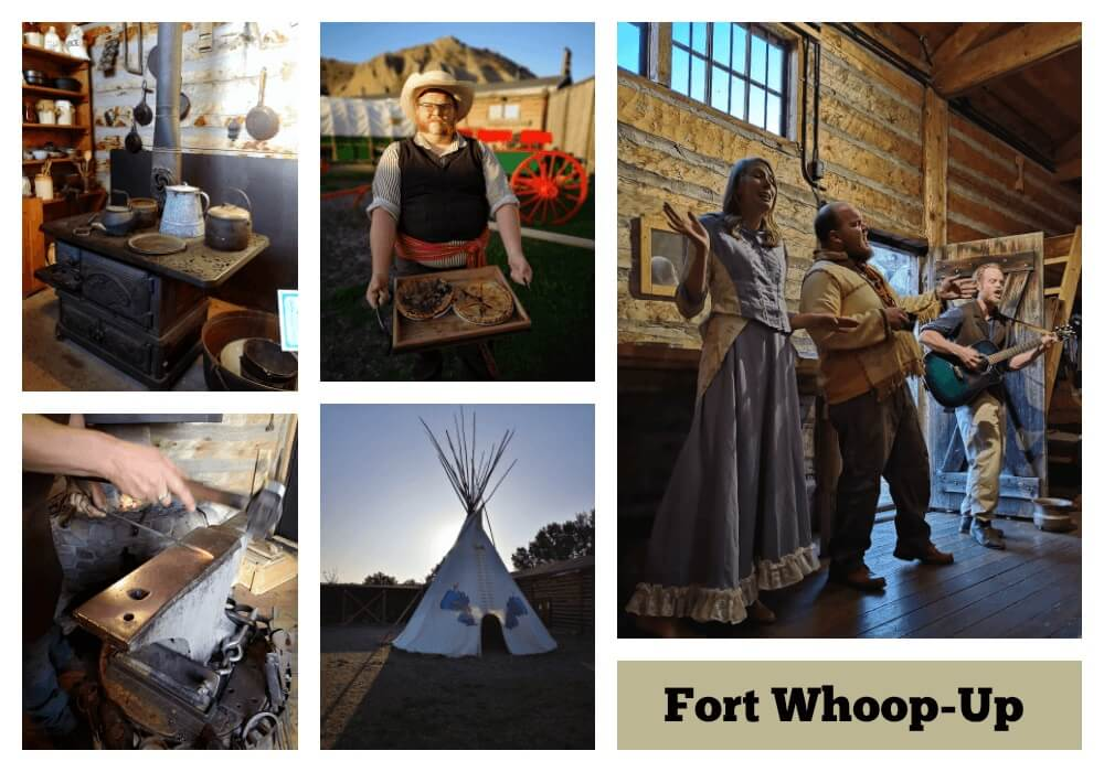 A collage of photos from Fort Whoop Up historical museum in Lethbridge, Alberta.
