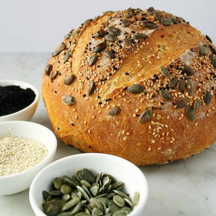 Super Seedy Pumpkin No Knead Bread