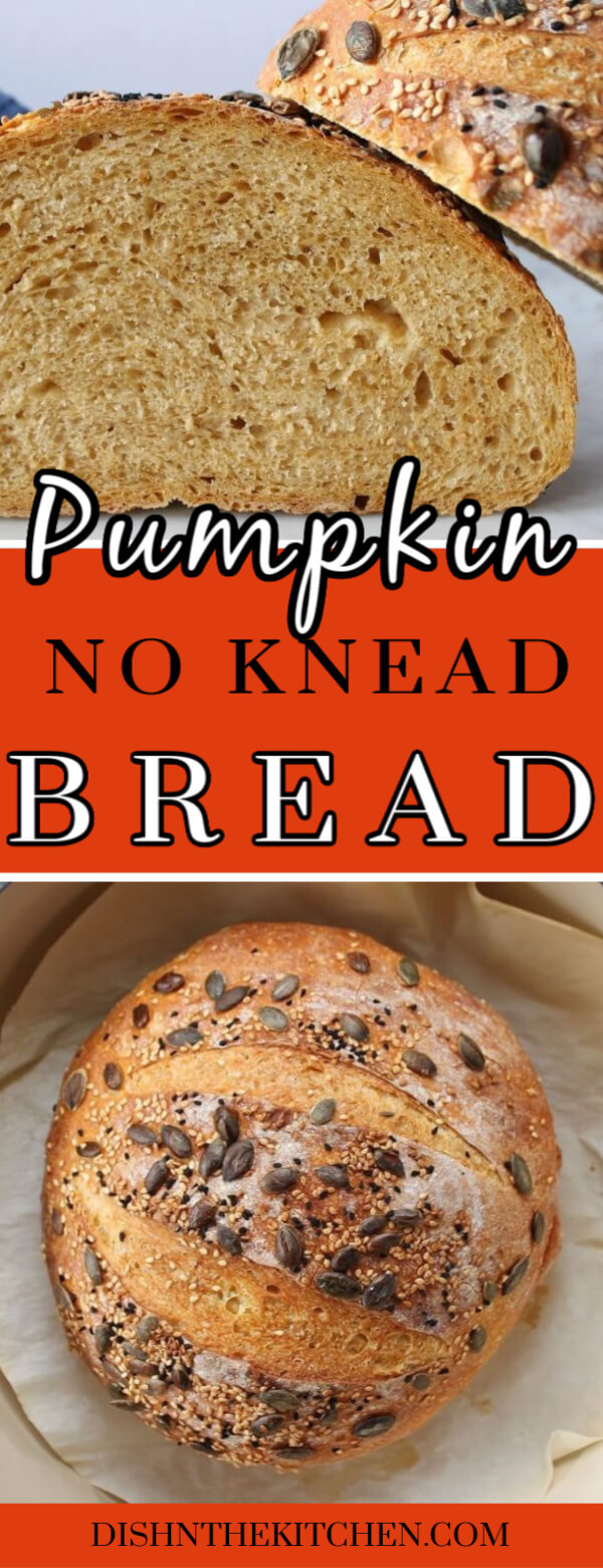 Pumpkin No Knead Bread - Pinterest image of a slice of homemade bread and another image with a whole round loaf topped with seeds.