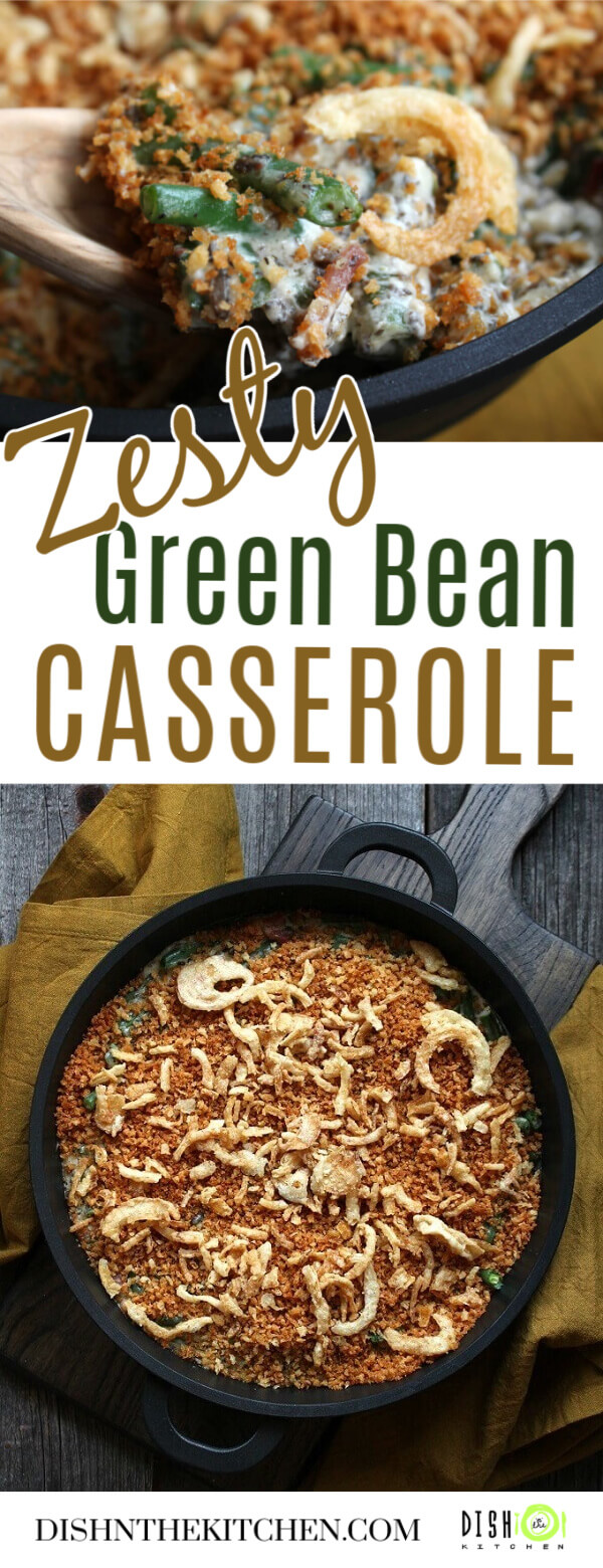 Pinterest image of a golden topped green bean casserole in a black dish, and a close up spoonful of the casserole.