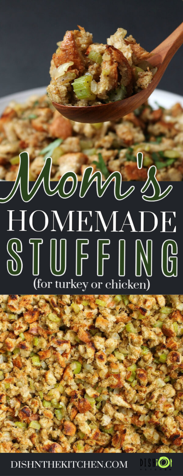 Pinterest image for Homemade Stuffing Recipe featuring classic bread stuffing studded with onions and celery.